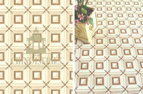 Dollhouse Miniature Flooring Paper, Faux Parquet, Chantilly, 1:12 scale