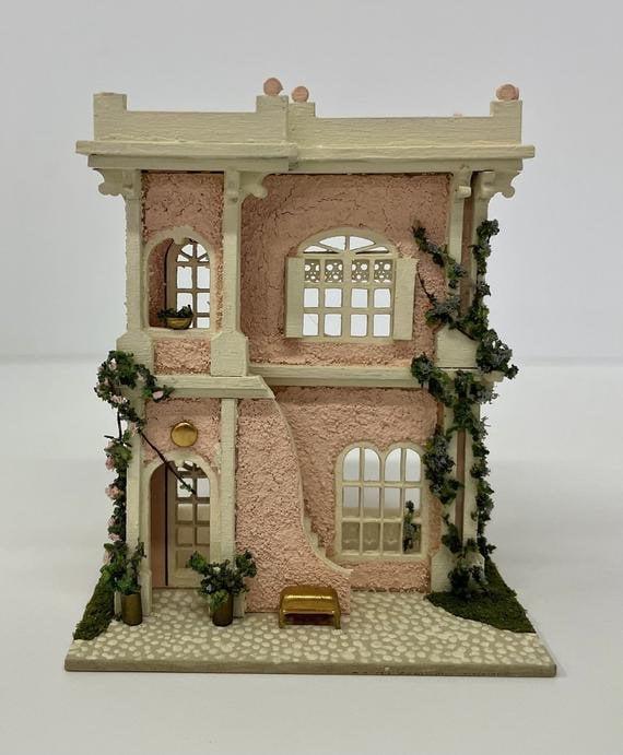 1:144 Micro Mini Wooden Dollhouse KIT, Villa, 1/144 scale