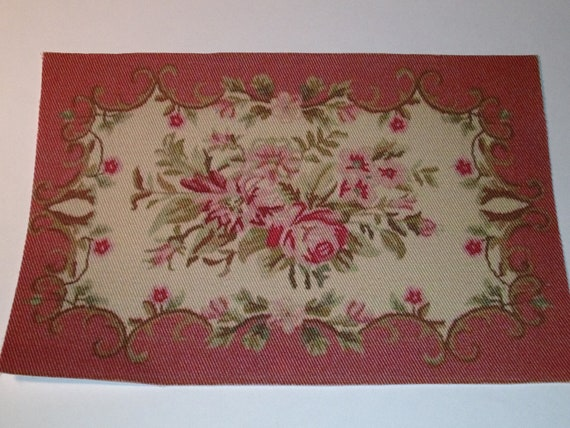Dollhouse Miniature Aubusson Rug, Scale One Inch