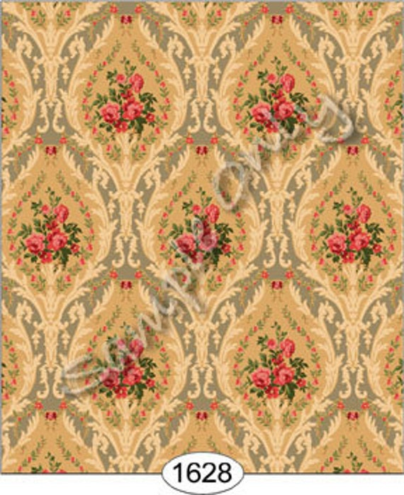 """Dollhouse Miniature Historic Victorian Wallpaper, """"Beatrice"""", Scale One Inch"""