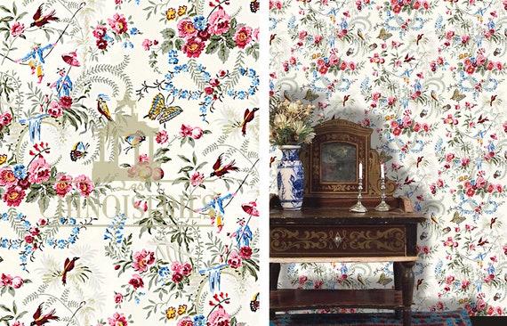 Dollhouse Miniature Wallpaper, Papillon, 1:12 scale