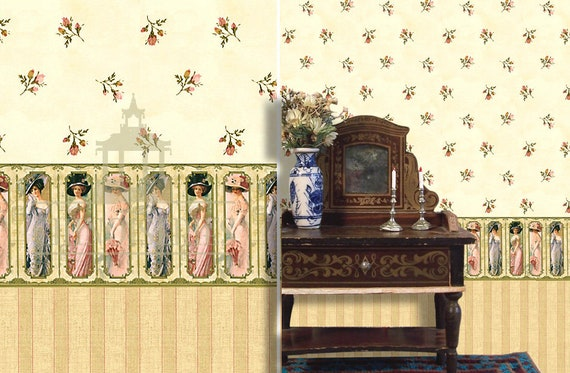 Dollhouse Miniature Wallpaper, Elsie, 1:12 Scale