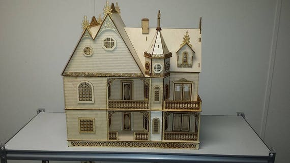 Half Inch Scale Wooden Dollhouse Kit, Grace Mansion, Gorgeous Victorian Wooden Dollhouse Kit, 1:24 Scale, SHIPS WORLDWIDE