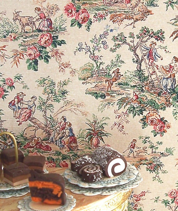 Dollhouse Miniature Wallpaper, Partie de Campagne, Scale One Inch