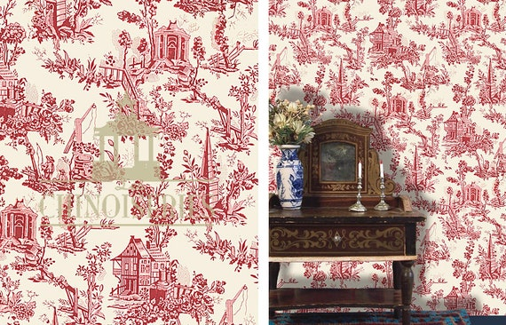 Dollhouse Miniature Wallpaper, Chinoiserie Rouge, 1:12 Scale