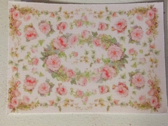 "Dollhouse Miniature Romantic Shabby Chic Rug ""Pink, Green, White and lots of Roses - Yes!"", TREASURY LIST"