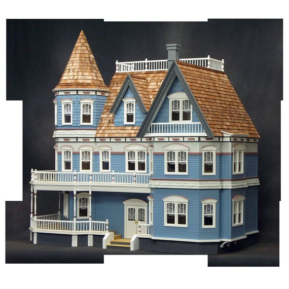 Scale One Inch, The Queen Anne Victorian Mansion,  Wooden Dollhouse Kit,  1:12 Scale