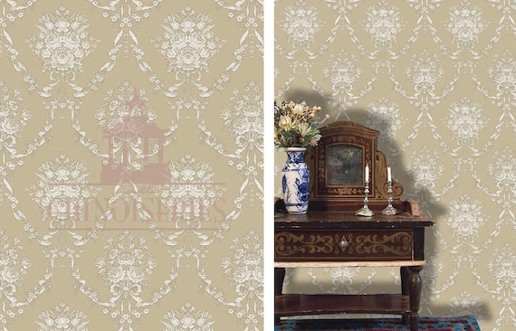 Dollhouse Miniature Wallpaper, Kendall, Scale One Inch