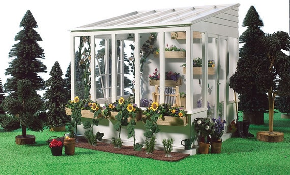 1:12 Wooden Dollhouse Kit, Greenhouse Conservatory, One Inch scale