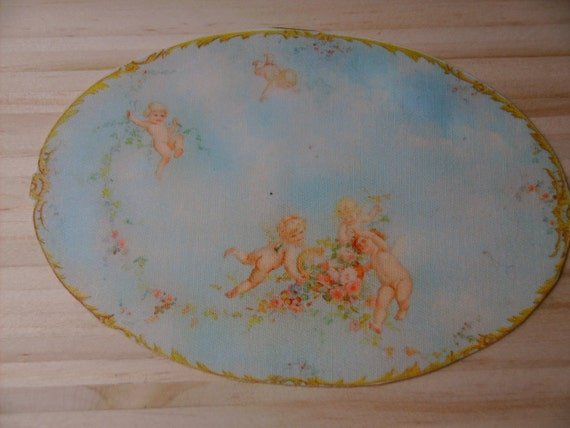 Dollhouse Miniature Romantic Shabby Chic Cherubs Rug, 1:12, Treasury List