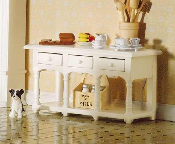 Dollhouse Miniature Furniture, Farmhouse Side Table, 1:12 scale