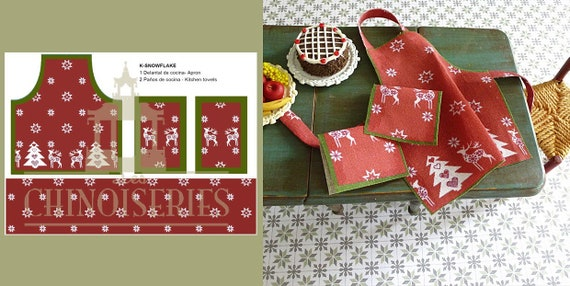 Dollhouse Miniature Christmas Apron with Dish Towels DIY Kit, 1:12 scale