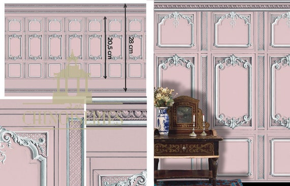 1:12 Dollhouse Miniature Wallpaper, Versailles Rose, Scale One Inch
