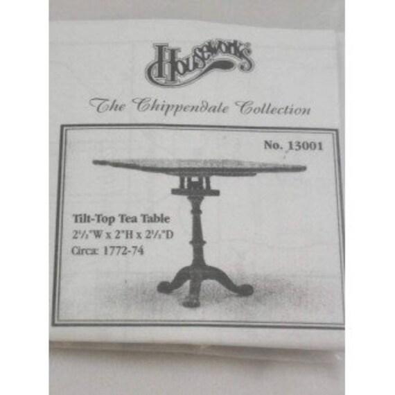 Dollhouse Miniature Furniture Kit, Chippendale Tilt Top Tea Table, 1:12 Scale