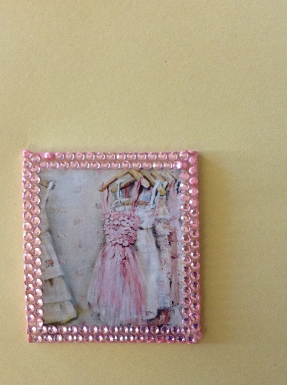"Dollhouse Miniature Romantic Shabby Chic Artwork, ""Pretty in Pink,  Blythe Scale 1:6"