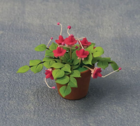 Dollhouse Miniature Flowering Plant, Fuchsias in a Pot, 1:12 scale
