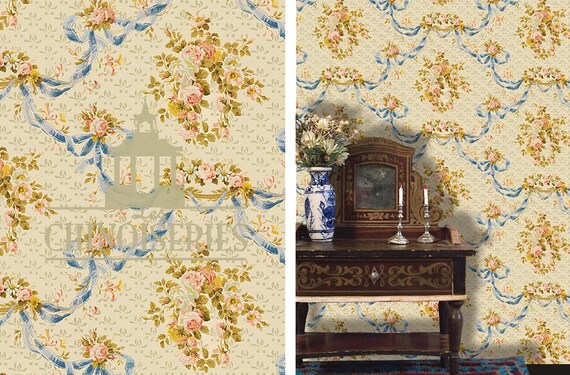 Dollhouse Miniature Wallpaper, Joie, Scale One Inch