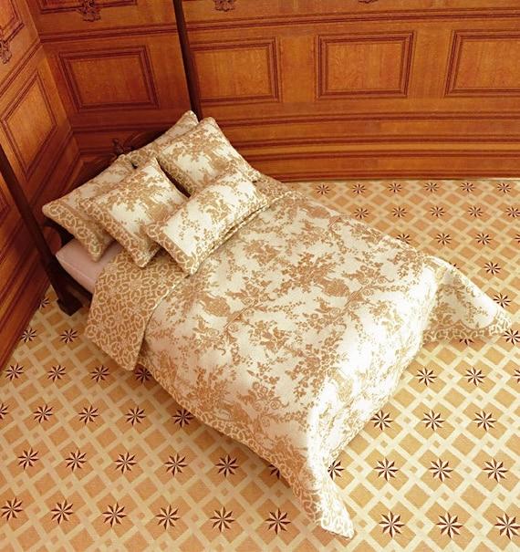 Dollhouse Miniature Double Bedding KIT, Creme Brûlée, 1:12 scale