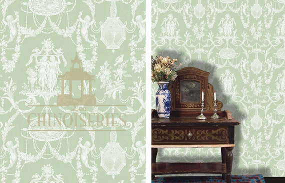 Dollhouse Miniature Wallpaper, Cameo, Scale One Inch