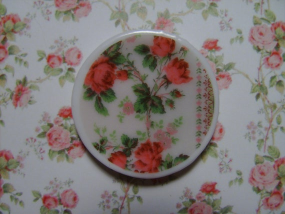 "Dollhouse Miniature Dinner Plate, Porcelain, ""Rose Wallpaper"" Scale One Inch"