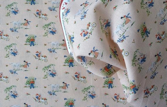 Dollhouse Miniature Matching Fabric, Les Enfants, 1:12 scale