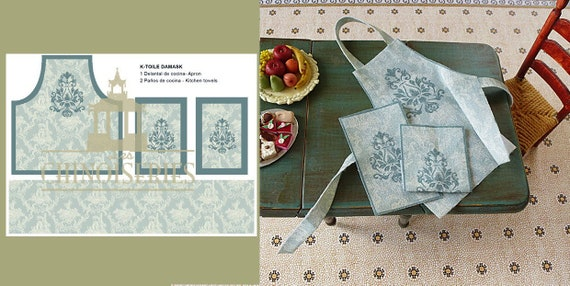 Dollhouse Miniature Toile Apron with Dish Towels DIY Kit, 1:12 scale