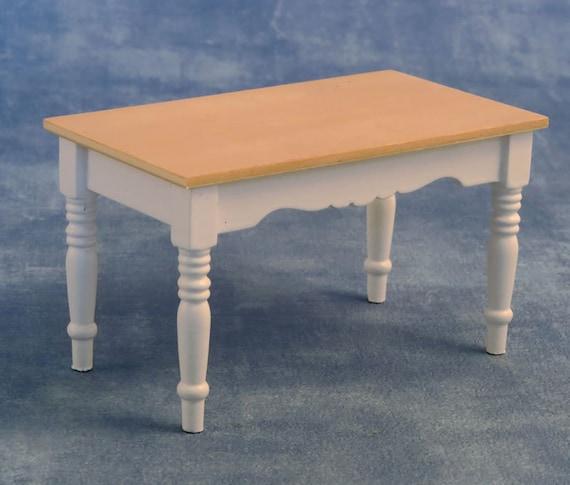 Dollhouse Miniature Farmhouse Style Furniture, White Pine Kitchen Table, 1:12 scale