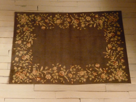 Dollhouse Miniature Victorian Brown & Peach Floral Rug One Inch Scale