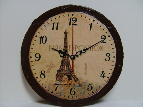 "Dollhouse Miniature Blythe size Wall Clock ""Paris Exposition"", One Sixth Scale"