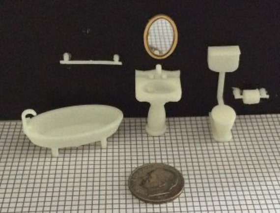 1:48 Dollhouse Furniture KIT, Dollhouse Bathroom, Quarter scale