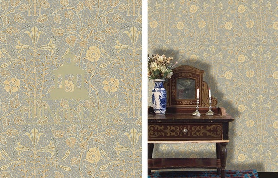 Dollhouse Miniature Wallpaper, Lilly, Scale One Inch