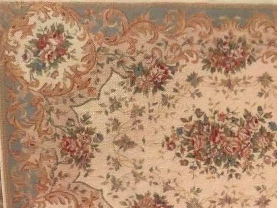 Dollhouse Miniature Room Size French Savonnerie Rug, Vivienne, 1:12 scale