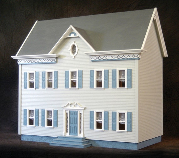 Scale One Inch, The Charming Urban Suburban Wooden Dollhouse Kit, Scale One Inch
