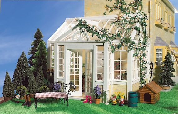 Wooden Dollhouse Kit, The Grande Conservatory/Greenhouse, 1:12 scale