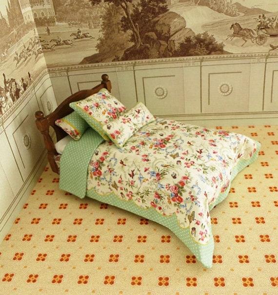 Dollhouse Miniature Single Bedding KIT, Papillon, 1:12 scale
