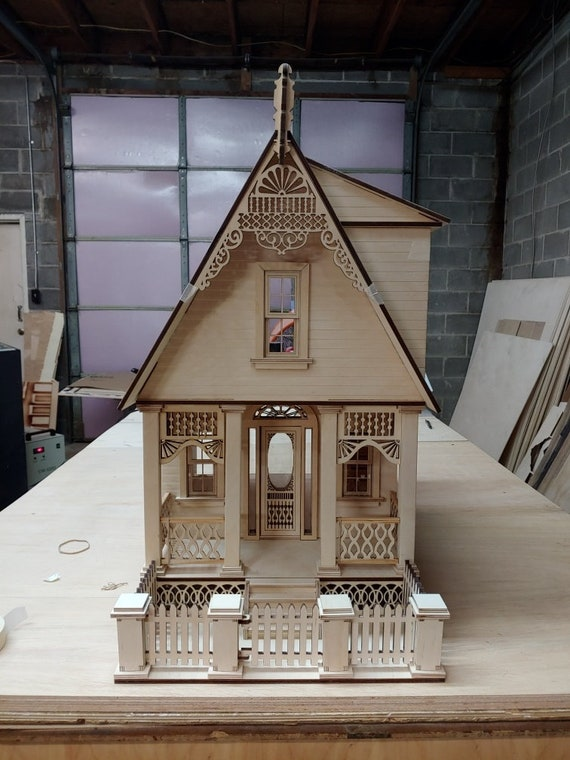 Dollhouse Miniature Wooden Dollhouse Kit, Annabelle Victorian Cottage, Scale One Inch