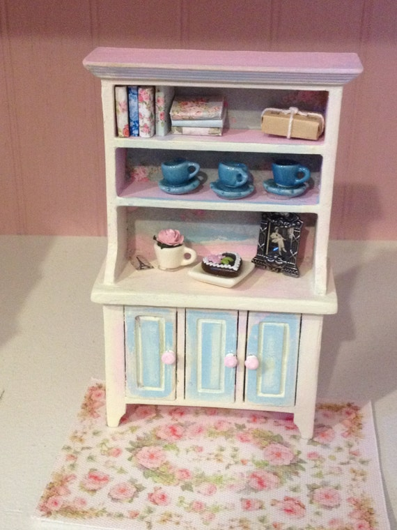 Miniature Rose Garden Charming Romantic Shabby Chic Kitchen Hutch, Scale One Inch