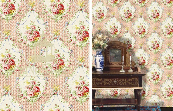 Dollhouse Miniature Wallpaper, Cath, Scale One Inch