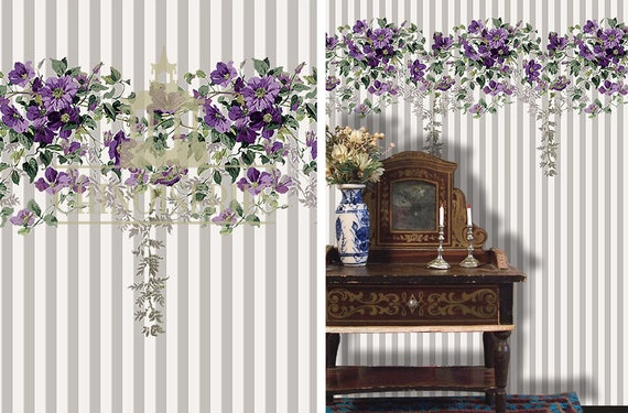 Dollhouse Miniature Wallpaper, Violet, Scale One Inch