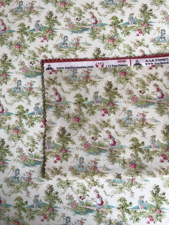 Dollhouse Miniature Matching Fabric, Peace, Scale One Inch