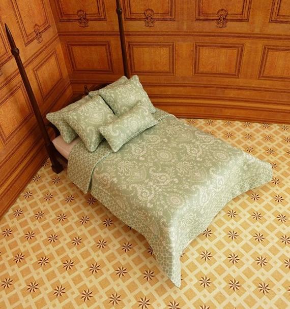 Dollhouse Miniature Double Bedding KIT, Mint Julep, 1:12 scale