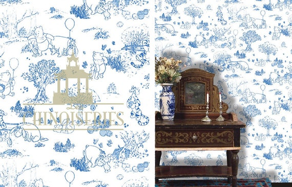 Dollhouse Miniature Wallpaper, Winnie Toile, Scale One Inch