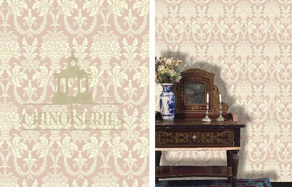 Dollhouse Miniature Wallpaper, Rose Wedgwood, Scale One Inch