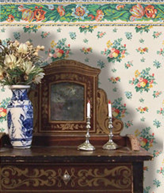 Dollhouse Miniature Wallpaper, Rosalie, Scale One Inch