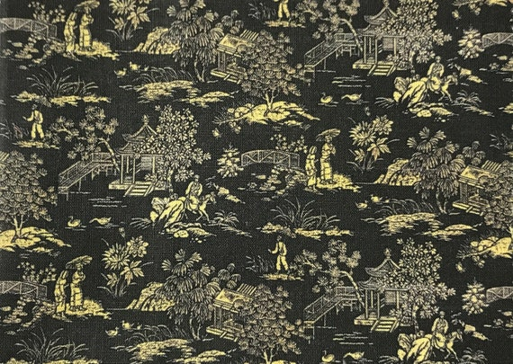 Dollhouse Miniature Matching Fabric, Chinoiserie Noire, Scale One Inch