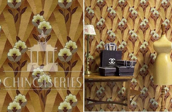 Dollhouse Miniature Wallpaper, French Art Deco, 1:12 scale
