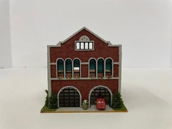 1:144 Micro Mini Wooden Dollhouse KIT, Firehouse, 1/144 scale