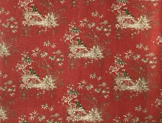 Dollhouse Miniature Matching Fabric, Ruddy, Scale One Inch
