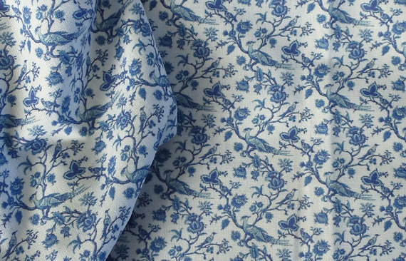 Dollhouse Miniature Matching Fabric, Blue Chinoiserie, 1:12 scale