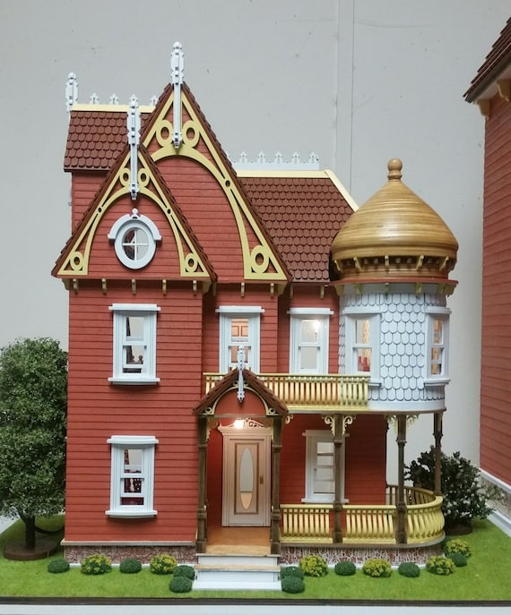 1:24 Adelaide Victorian Mansion Wooden Dollhouse Kit, Half Inch Scale